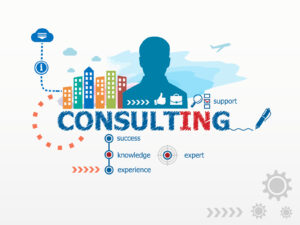 Consulting concept and business man. Flat design illustration for business consulting finance management career.